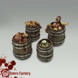 WOODEN BARRELS WITH CORPSES